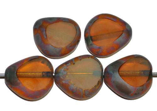 Best.Nr.:67845 Glasperle / Table Cut Bead  geschliffen, Opalglas butterscotch mit picasso finish,  hergestellt in Gablonz / Tschechien