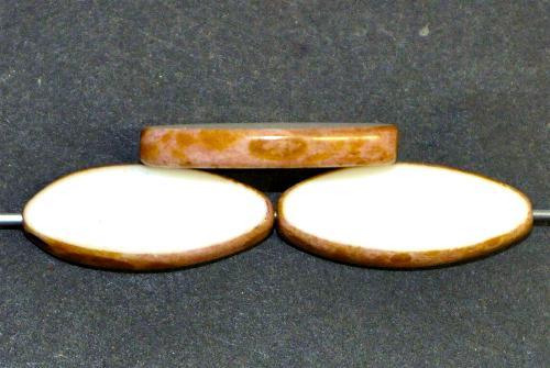 Best.Nr.:67846 Glasperlen / Table Cut Beads geschliffen weiß mit picasso finish,  hergestellt in Gablonz / Tschechien