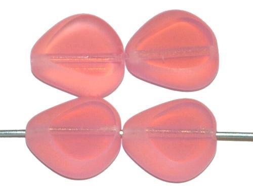 Best.Nr.:67854 Glasperlen / Table Cut Beads geschliffen, Opalglas rosa, Rand mattiert (frostet) hergestellt in Gablonz / Tschechien