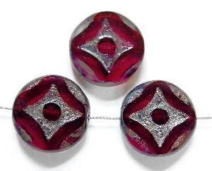 Best.Nr.:67864 Glasperlen / Table Cut Beads geschliffen mit burning silver picasso finish