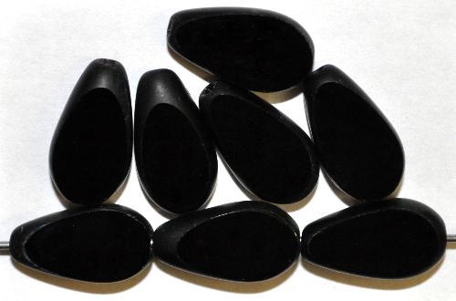 Best.Nr.:67873  Glasperlen / Table Cut Beads geschliffen, schwarz opak Rand mattiert (frostet), hergestellt in Gablonz / Tschechien
