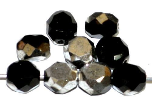 Best.Nr.:67883 Glasperlen / Table Cut Beads geschliffen, schwarz mit metallic finish, Rand mit Facettenschliff, hergestellt in Gablonz / Tschechien