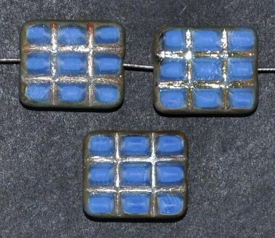Best.Nr.:67883 Glasperlen geschliffen / Table Cut Beads, blau Perlettglas, mit eingepägtem Rechteckornament und burning silver picasso finish