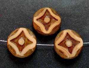 Best.Nr.:67884 Glasperlen / Table Cut Beads beigebraun, geschliffen mit picasso finish