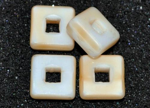 Best.Nr.: 67886  Glasperlen / Table Cut Beads  geschliffen, weiß beige Rand mattiert,  hergestellt in Gablonz / Tschechien
