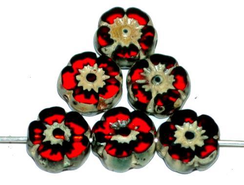 Best.Nr.:67893  Glasperlen / Table Cut Beads Blüten geschliffen  dunkelrot transp. mit picasso finish,  hergestellt in Gablonz / Tschechien