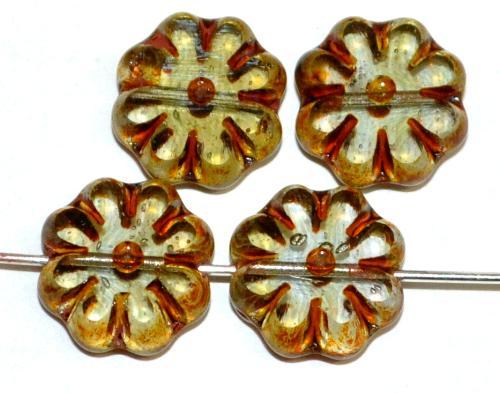 Best.Nr.:67897 Glasperlen / Table Cut geschliffen,  kristall getönt mit picasso finish,  hergestellt in Gablonz Tschechien