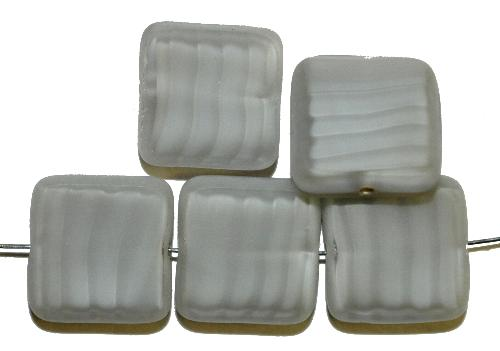 Best.Nr.:67902 Glasperlen / Table Cut Beads  geschliffen, Perlettglas hellgrau, Rand mattiert,  hergestellt in Gablonz / Tschechien