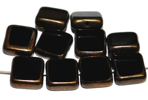 Best.Nr.:67913 Glasperlen / Table Cut Beads geschliffen  schwarz Rand mit Bronzeauflage, hergestellt in Gablonz / Tschechien