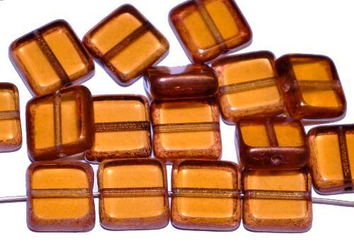 Best.Nr.:67914 Glasperlen / Table Cut Beads geschliffen topas transp. Rand mit bronze finish, hergestellt in Gablonz / Tschechien