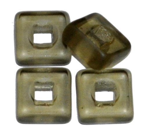 Best.Nr.:67916 Glasperlen / Table Cut Beads geschliffen, rauch transp. Rand mattiert, hergestellt in Gablonz / Tschechien