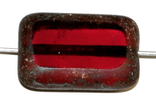Best.Nr.:67922  Glasperlen / Table Cut Beads geschliffen,  granatrot transp. mit picasso finish,  hergestellt in Gablonz / Tschechien
