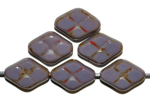 Best.Nr.:67938 Glasperlen / Table Cut Beads geschliffen violett opak mit picasso finish, hergestellt in Gablonz / Tschechien