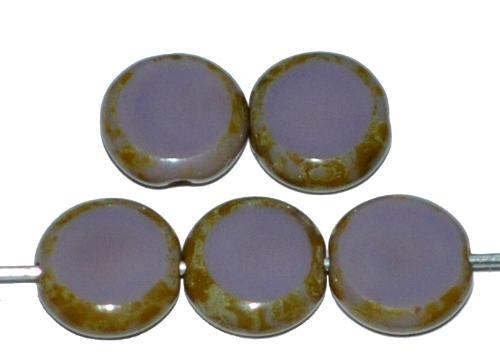 Best.Nr.:67940 Glasperlen / Table Cut Beads geschliffen  violett opak mit picasso finish, hergestellt in Gablonz Tschechien