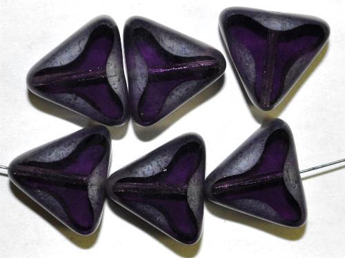 Best.Nr.:67948 Glasperlen / Table Cut Beads  geschliffen  lila Rand mattiert mit Silverlüster, hergestellt in Gablonz / Tschechien