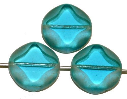 Best.Nr.:67955 Glasperlen / Table Cut Beads  geschliffen / blau transp. Rand mit lüster mattiert (frostet), hergestellt in Gablonz Tschechien