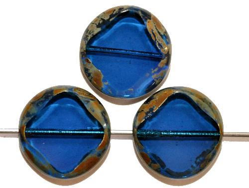 Best.Nr.:671113 Glasperlen / Table Cut Beads  montana transp.,  geschliffen mit picasso finish,  hergestellt in Gablonz / Tschechien