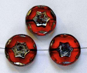 Best.Nr.:67958 Glasperlen / Table Cut Beads, mit eingeprägtem Stern, orange transparent, geschliffen mit burning silver picasso finish