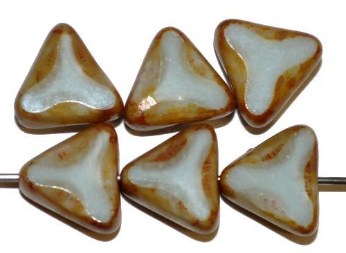 Best.Nr.:67961 Glasperlen / Table Cut Beads Perlettglas geschliffen hellgrau Perlett Rand mit picasso finish, hergestellt in Gablonz / Tschechien