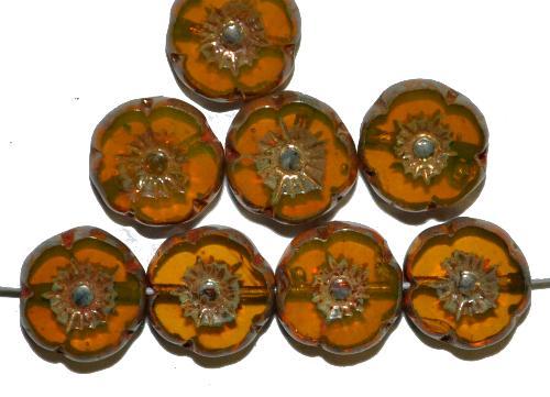Best.Nr.:67966 Glasperlen / Table Cut Beads Blüten geschliffen  Opalglas gelb mit burning silver picasso finish,  hergestellt in Gablonz / Tschechien