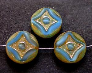 Best.Nr.:67973 Glasperlen / Table Cut Beads Perlettglas blau, geschliffen mit burning silver picasso finish