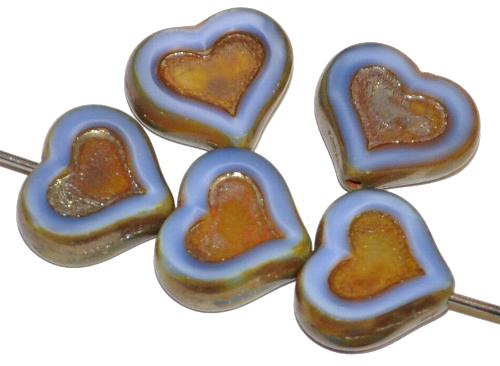 Best.Nr.:67975 Glasperlen / Table Cut Beads Herzen geschliffen, mittelblau opak mit picasso finish
