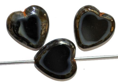 Best.Nr.:67990 Glasperlen / Table Cut Beads  Herzen geschliffen  black smoke mit picasso finish, hergestellt in Gablonz / Tschechien