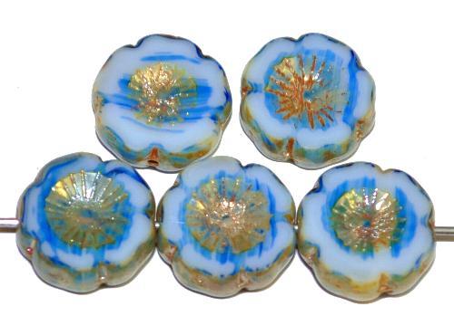 Best.Nr.:67997 Glasperlen / Table Cut Beads Blüten geschliffen  weiß blau mit picasso finish, hergestellt in Gablonz / Tschechien