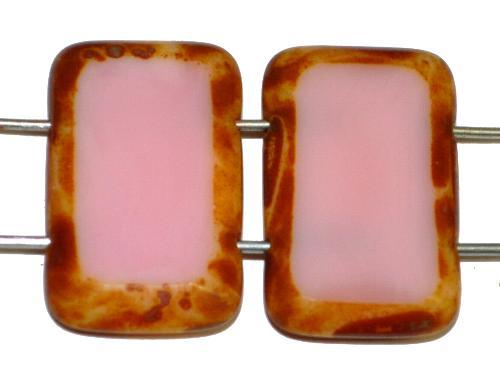 Best.Nr.:671402 Glasperlen / Table Cut Beads geschliffen  mit 2 Löchern  rosa opak mit picasso finish,  hergestellt in Gablonz / Tschechien