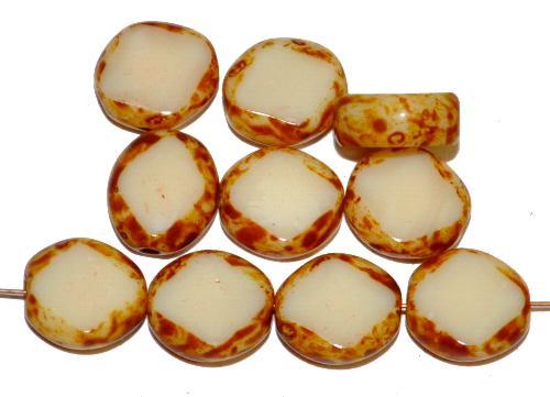Best.Nr.:67463 Glasperlen / Table Cut Beads  geschliffen, beige opak mit picasso finish,  hergestellt in Gablonz Tschechien