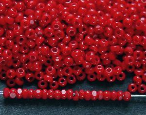 Best.Nr.:71012 Charlottperlen (angeschliffene Rocailles) in den1920/30 Jahren in Gablonz/Böhmen hergestellt rot opak