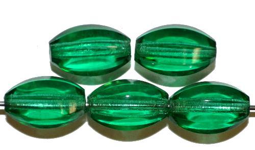 Best.Nr.:76001 von Hand geschliffene Glasperlen, Längsschliff smaragd transparent, um 1930 in Gablonz/Böhmen hergestellt