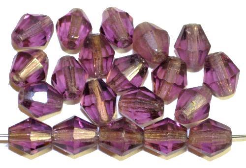 Best.Nr.:76004  geschliffene Glasperlen bicon, violett transp., um 1920/30 in Gablonz/Böhmen hergestellt,