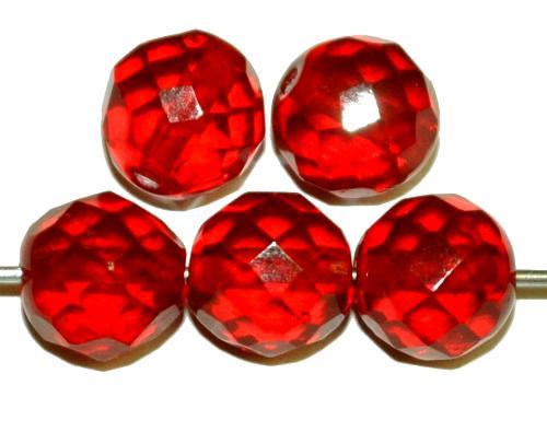 Best.Nr.:76020 geschliffene Glasperlen, rubinrot transp., um 1920/30 in Gablonz/Böhmen hergestellt