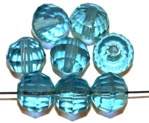 Best.Nr.:76031 geschliffene Glasperlen, aqua transp., um 1920/30 in Gablonz/Böhmen hergestellt