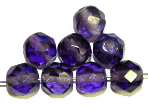 Best.Nr.:76036 geschliffene Glasperlen, violettblau transp., um 1920/30 in Gablonz/Böhmen hergestellt,