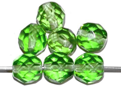 Best.Nr.:76043 geschliffene Glasperlen, grün transp., um 1920/30 in Gablonz/Böhmen hergestellt