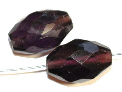 Best.Nr.:76043  geschliffene Glasperlen Oliven, violett transp., um 1920/30 in Gablonz/Böhmen hergestellt,  (nur wenige auf Lager)