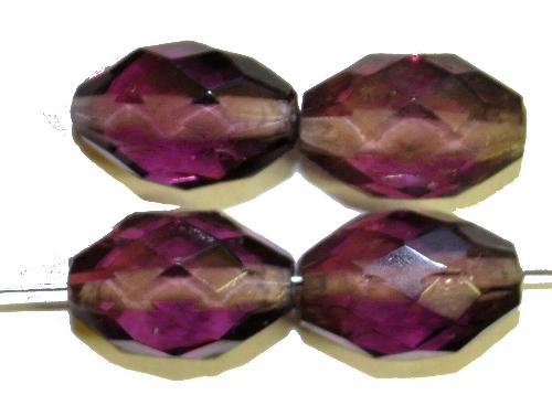 Best.Nr.:76091  geschliffene Glasperlen Oliven, violett transp., um 1920/30 in Gablonz/Böhmen hergestellt,  (nur wenige auf Lager)