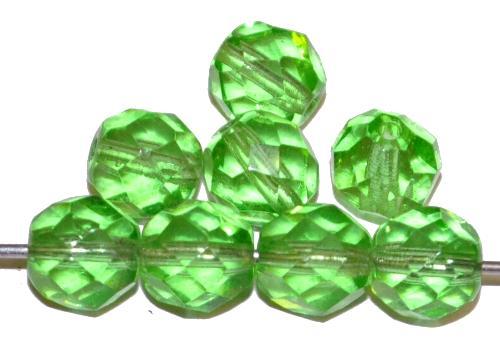 Best.Nr.:76046 geschliffene Glasperlen, grün transp., um 1920/30 in Gablonz/Böhmen hergestellt