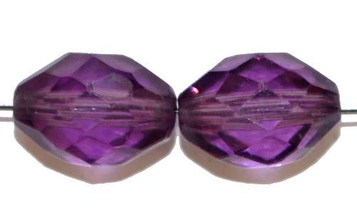 Best.Nr.:76046 geschliffene Glasperlen Oliven, violett transp., um 1920/30 in Gablonz/Böhmen hergestellt,  (nur wenige auf Lager)