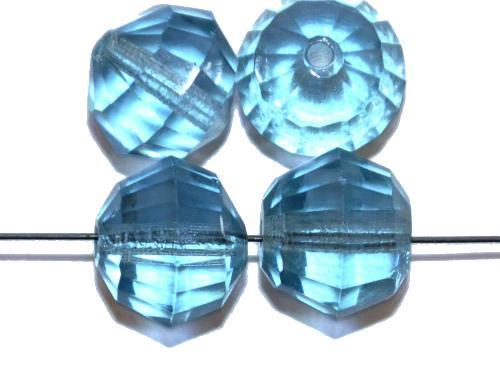 Best.Nr.:76048 geschliffene Glasperlen, aqua transp., um 1920/30 in Gablonz/Böhmen hergestellt