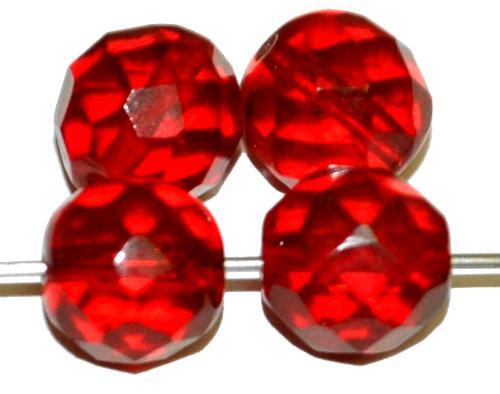 Best.Nr.:76052 geschliffene Glasperlen, rubinrot transp., um 1920/30 in Gablonz/Böhmen hergestellt