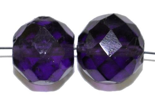 Best.Nr.:76055  geschliffene Glasperlen, violettblau transp., um 1920/30 in Gablonz/Böhmen hergestellt,