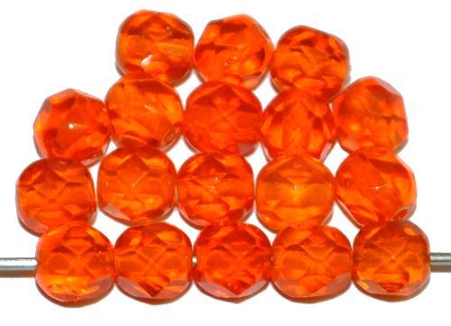 Best.Nr.:76057 geschliffene Glasperlen, orange transp., um 1920/30 in Gablonz/Böhmen hergestellt