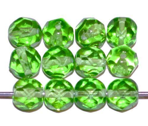 Best.Nr.:76058 geschliffene Glasperlen, grün transp., um 1920/30 in Gablonz/Böhmen hergestellt