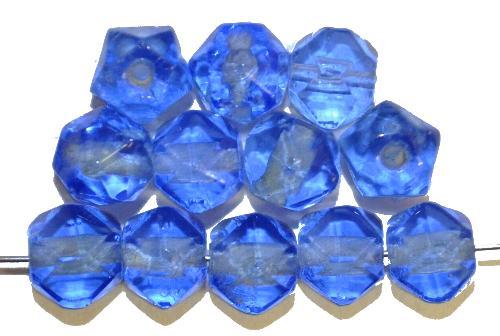 Best.Nr.:76060 geschliffene Glasperlen, aqua transp.,  um 1920/30 in Gablonz/Böhmen hergestellt, (nur wenige auf Lager)