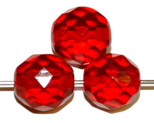 Best.Nr.:76061 geschliffene Glasperlen, rubinrot transp., um 1920/30 in Gablonz/Böhmen hergestellt