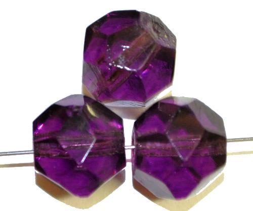 Best.Nr.:76061  geschliffene Glasperlen, violett transp., um 1920/30 in Gablonz/Böhmen hergestellt,  (nur wenige auf Lager)