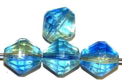 Best.Nr.:76066  geschliffene Glasperlen bicon, blau grün transp. Uranglas, um 1940/50 in Gablonz/Böhmen hergestellt